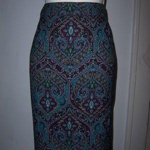 Womens Talbots Sz 12 Paisley Skirt Lined